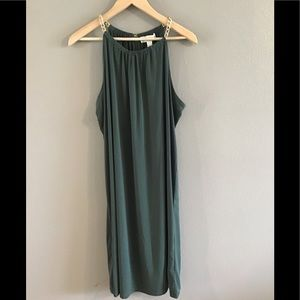 NWT Micheal Kors Ivy Green Chain Halter Dress